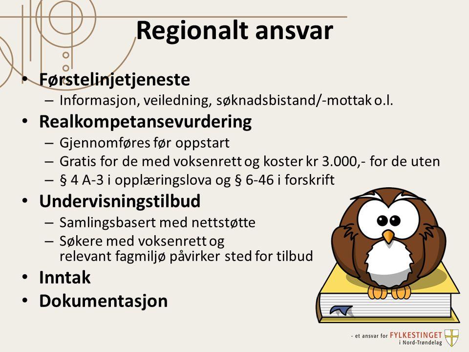 Regionalt ansvar Førstelinjetjeneste – Informasjon, veiledning, søknadsbistand/-mottak o.l.