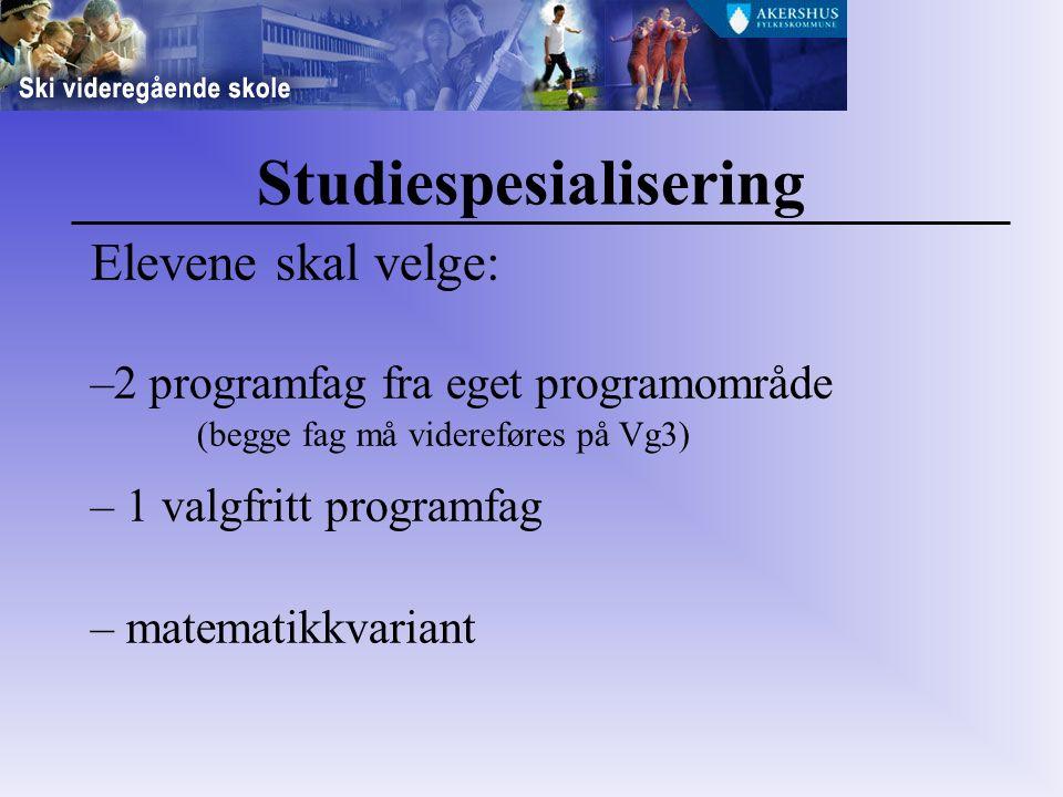 Studiespesialisering Elevene skal velge: –2 programfag fra eget programområde (begge fag må videreføres på Vg3) – 1 valgfritt programfag – matematikkvariant