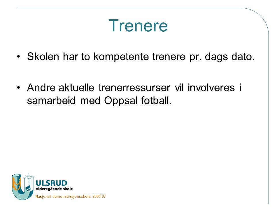Nasjonal demonstrasjonsskole 2005-07 Trenere Skolen har to kompetente trenere pr.