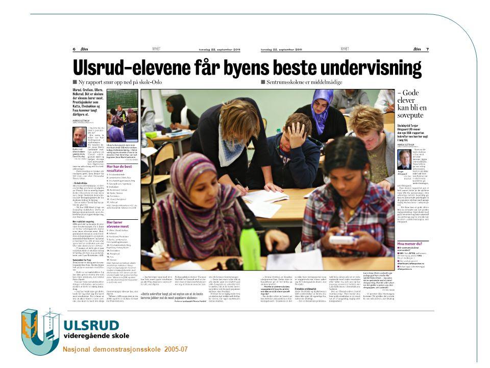 Nasjonal demonstrasjonsskole 2005-07 Kontaktinformasjon: Espen Anar Sæther (Fagleder idrett) –espen.sether@ulsrud.vgs.noespen.sether@ulsrud.vgs.no –Mob: 98008272 Lin Andersen (Avdelingsleder idrett) –lin.andersen@ulsrud.vgs.nolin.andersen@ulsrud.vgs.no