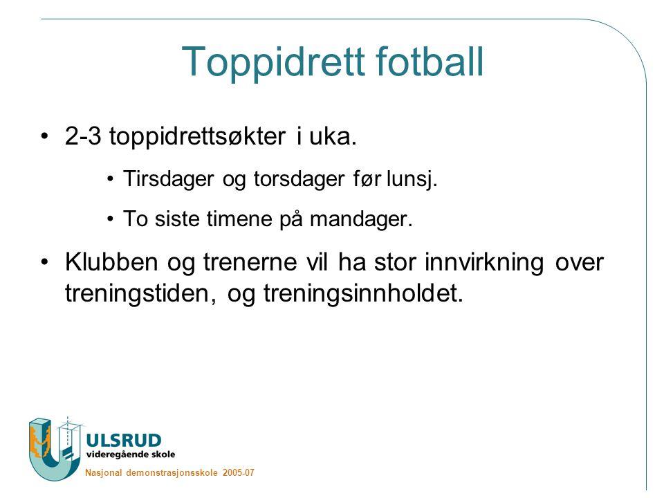 Nasjonal demonstrasjonsskole 2005-07 Toppidrett fotball 2-3 toppidrettsøkter i uka.