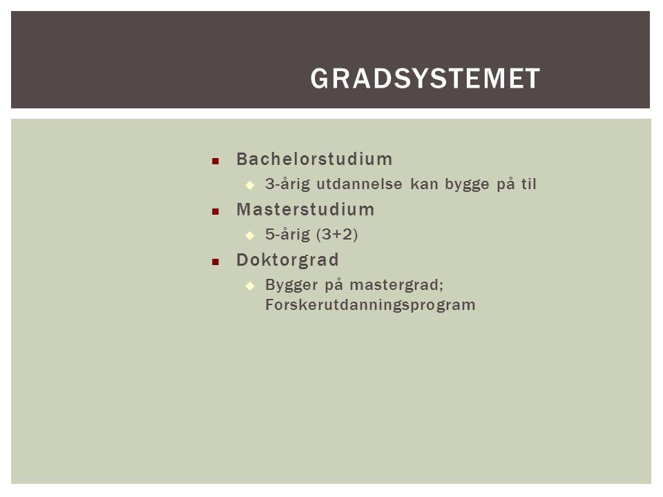 Bachelorstudium  3-årig utdannelse kan bygge på til Masterstudium  5-årig (3+2) Doktorgrad  Bygger på mastergrad; Forskerutdanningsprogram GRADSYST