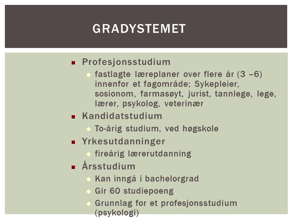 Profesjonsstudium  fastlagte læreplaner over flere år (3 –6) innenfor et fagområde; Sykepleier, sosionom, farmasøyt, jurist, tannlege, lege, lærer, p