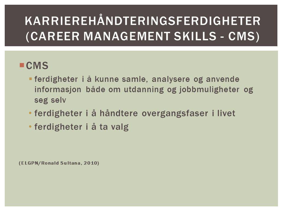  CMS  ferdigheter i å kunne samle, analysere og anvende informasjon både om utdanning og jobbmuligheter og seg selv ferdigheter i å håndtere overgan