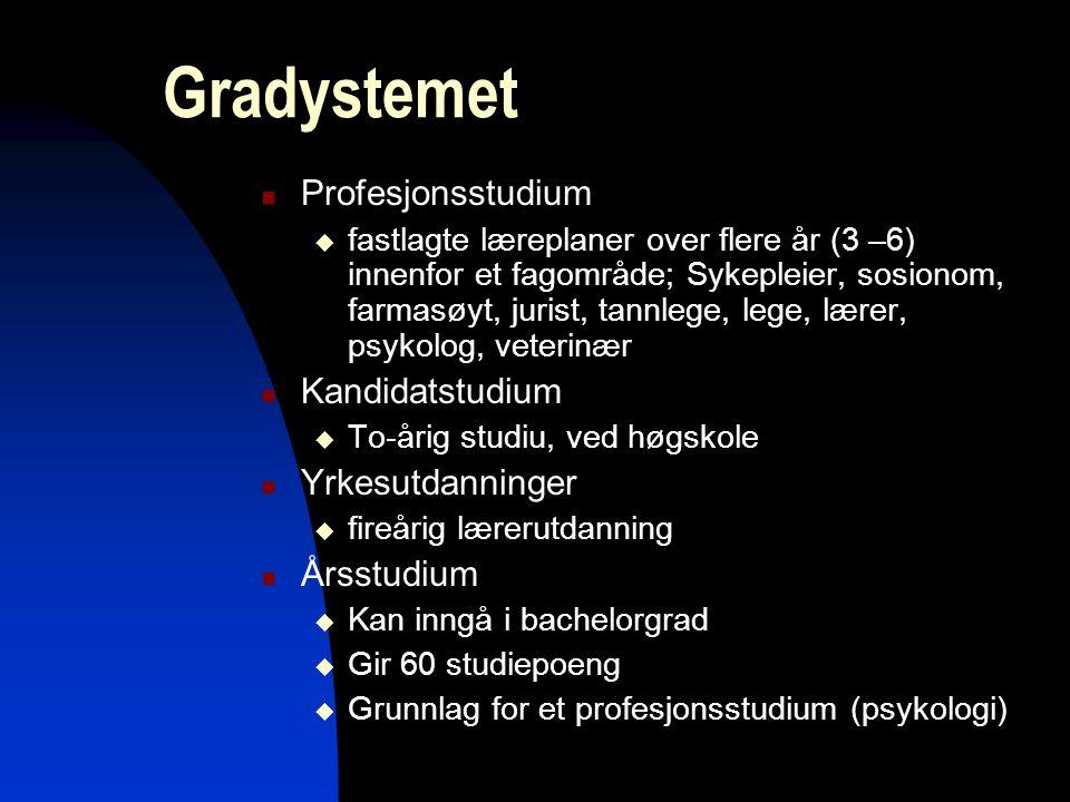 mbs10 Gradystemet Profesjonsstudium  fastlagte læreplaner over flere år (3 –6) innenfor et fagområde; Sykepleier, sosionom, farmasøyt, jurist, tannle