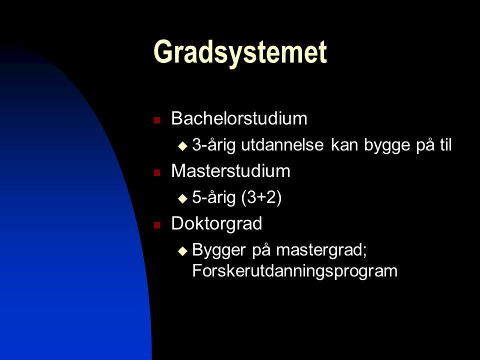 mbs9 Gradsystemet Bachelorstudium  3-årig utdannelse kan bygge på til Masterstudium  5-årig (3+2) Doktorgrad  Bygger på mastergrad; Forskerutdannin