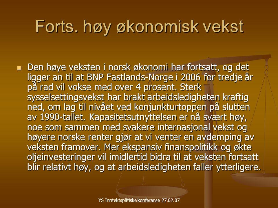 YS Inntektsplitiske konferanse 27.02.07 Forts.