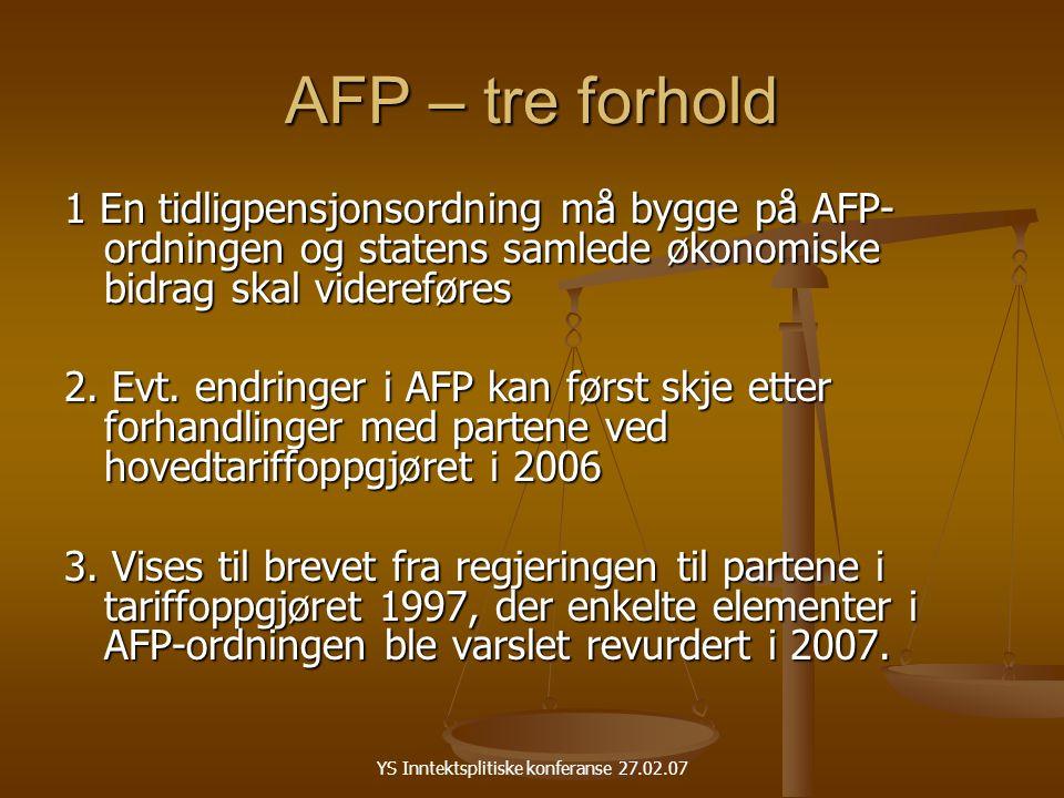 YS Inntektsplitiske konferanse 27.02.07 AFP – tre forhold 1 En tidligpensjonsordning må bygge på AFP- ordningen og statens samlede økonomiske bidrag skal videreføres 2.