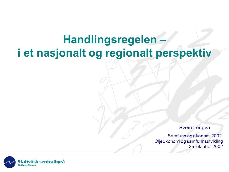 Handlingsregelen – i et nasjonalt og regionalt perspektiv Svein Longva Samfunn og økonomi 2002: Oljeøkonomi og samfunnsutvikling 25.