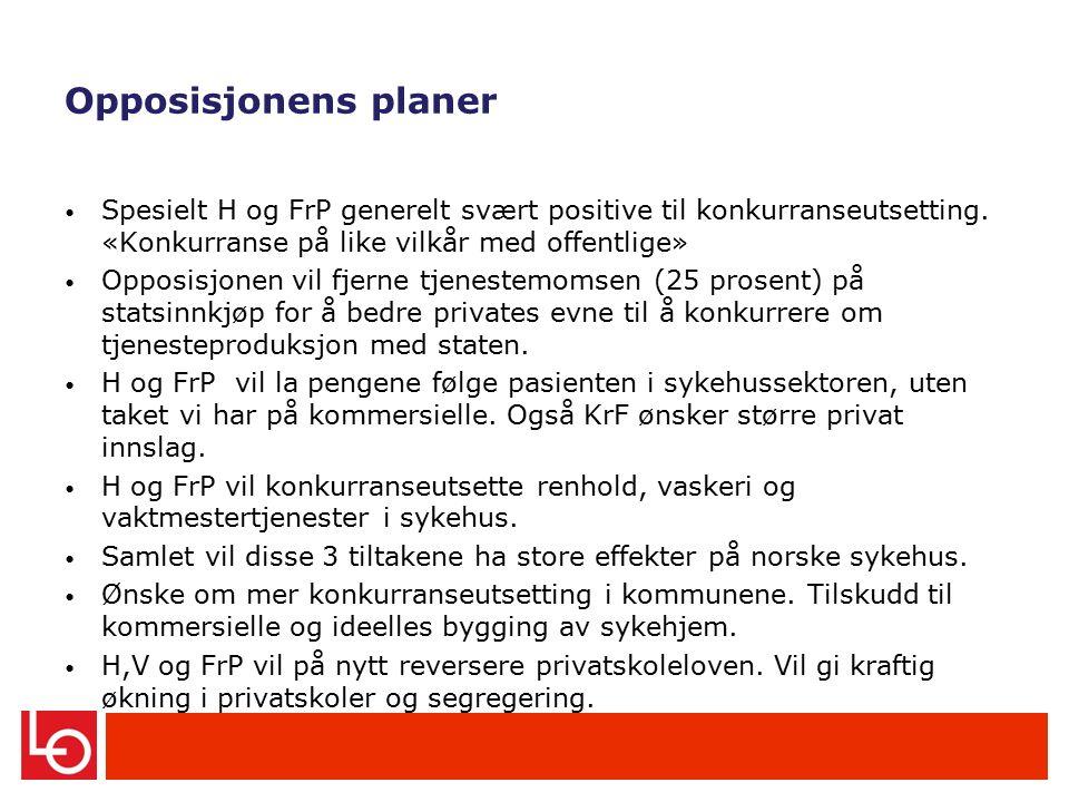 Opposisjonens planer Spesielt H og FrP generelt svært positive til konkurranseutsetting.