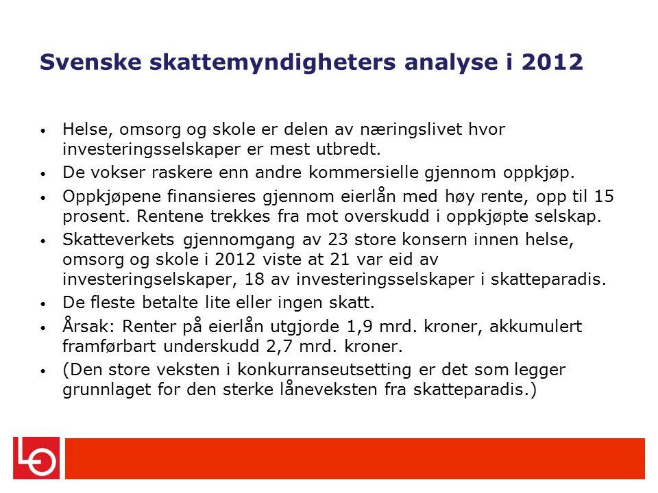 Svenske skattemyndigheters analyse i 2012 Helse, omsorg og skole er delen av næringslivet hvor investeringsselskaper er mest utbredt.