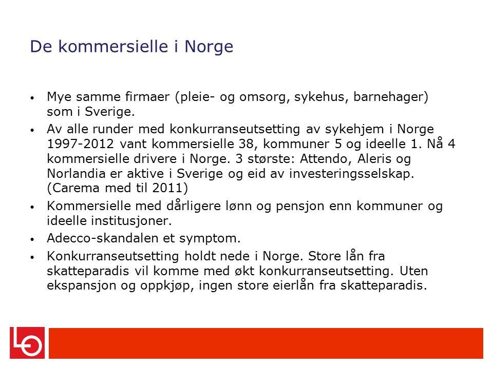 De kommersielle i Norge Mye samme firmaer (pleie- og omsorg, sykehus, barnehager) som i Sverige.