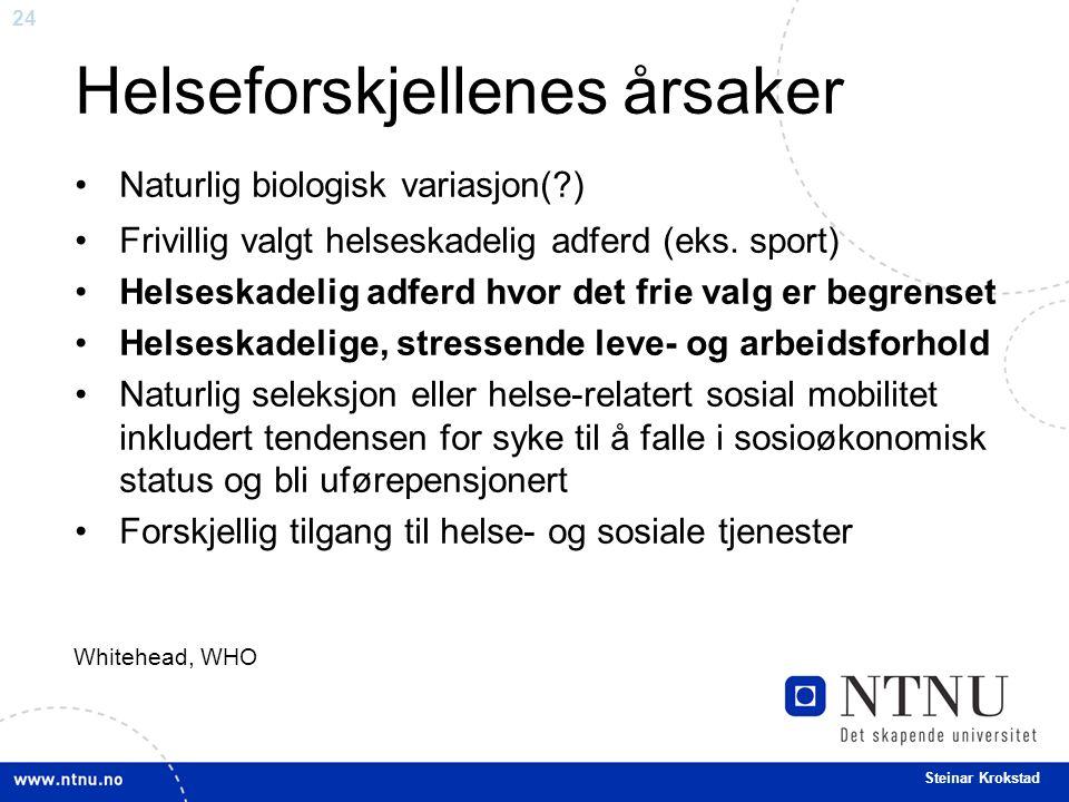 24 Steinar Krokstad Helseforskjellenes årsaker Naturlig biologisk variasjon( ) Frivillig valgt helseskadelig adferd (eks.