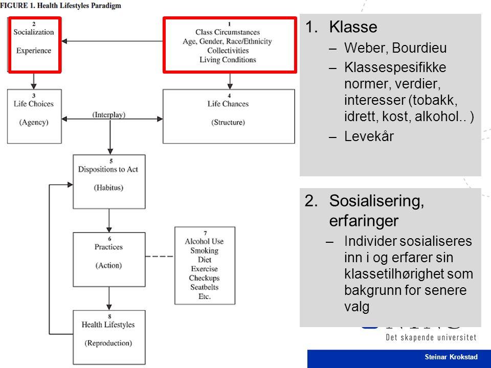 30 Steinar Krokstad 1.Klasse –Weber, Bourdieu –Klassespesifikke normer, verdier, interesser (tobakk, idrett, kost, alkohol..