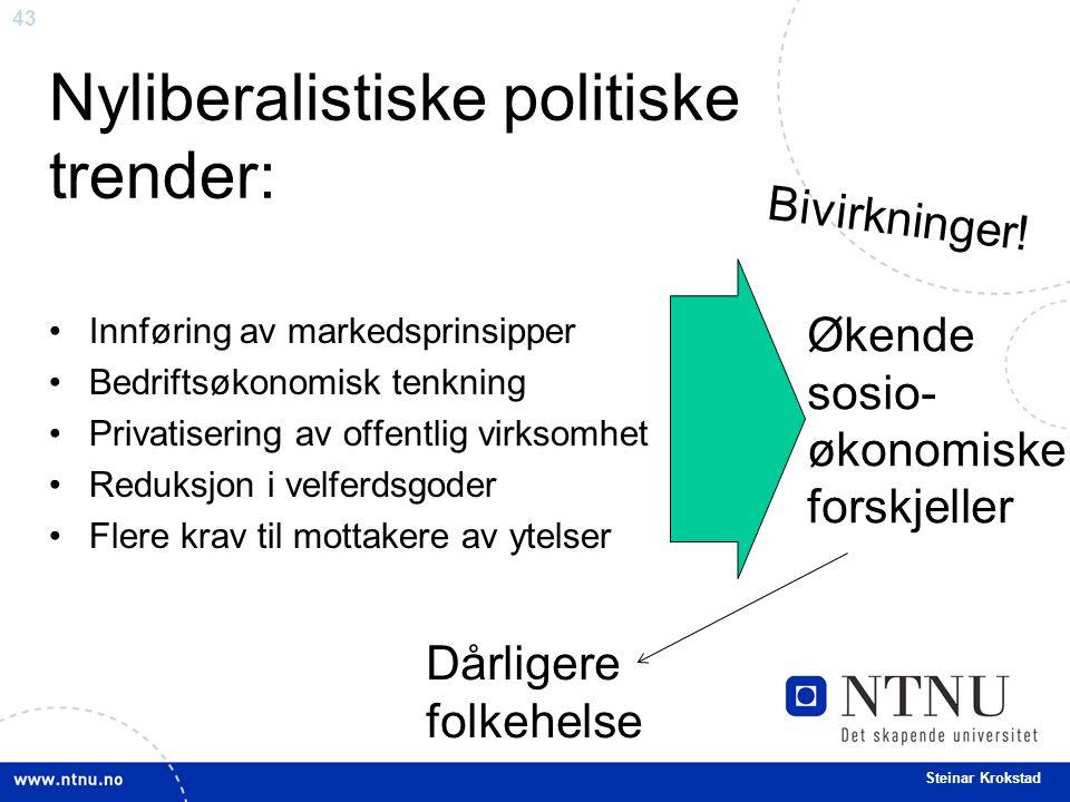 43 Steinar Krokstad Nyliberalistiske politiske trender: Innføring av markedsprinsipper Bedriftsøkonomisk tenkning Privatisering av offentlig virksomhet Reduksjon i velferdsgoder Flere krav til mottakere av ytelser Økende sosio- økonomiske forskjeller Bivirkninger.
