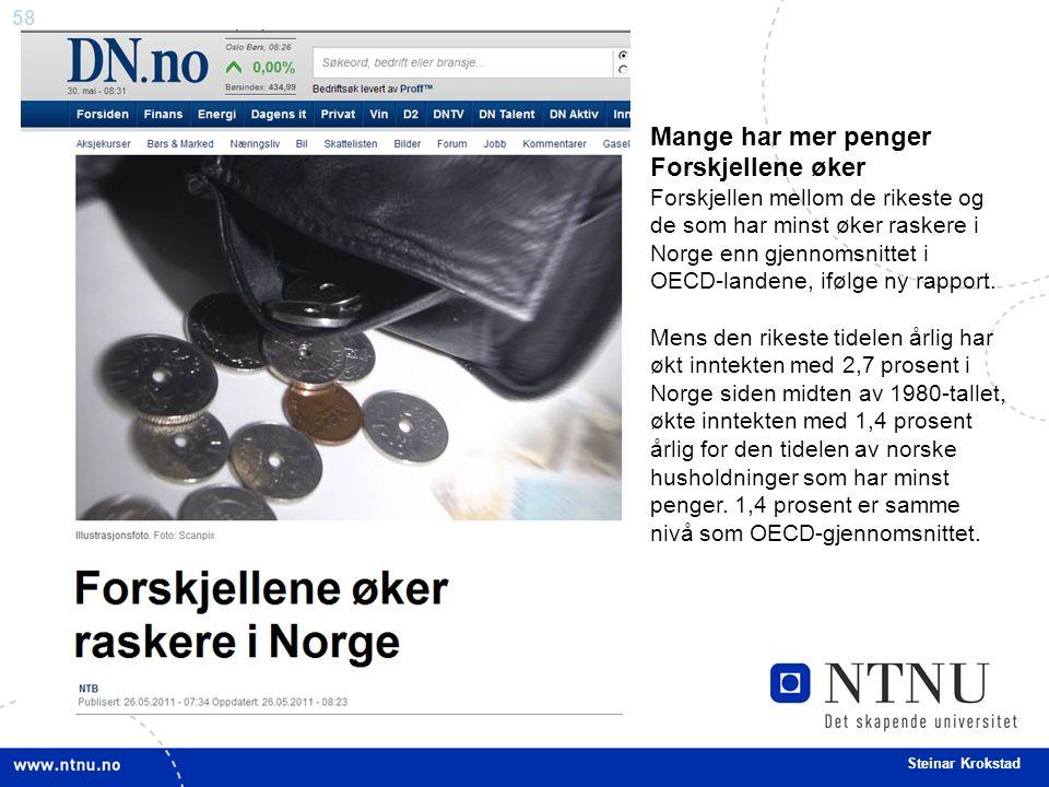 58 Steinar Krokstad Mange har mer penger Forskjellene øker Forskjellen mellom de rikeste og de som har minst øker raskere i Norge enn gjennomsnittet i OECD-landene, ifølge ny rapport.