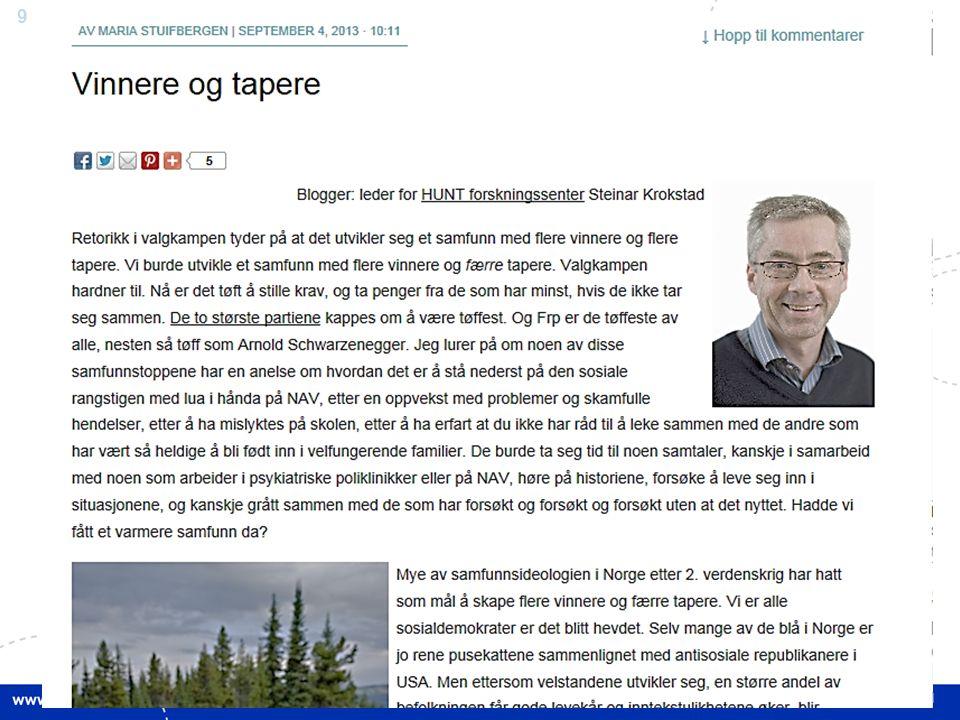 60 Steinar Krokstad Sosial ulikhet i helse- og omsorgstjenestene St.meld.