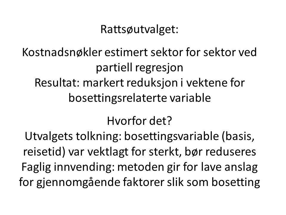 Rattsøutvalget: Kostnadsnøkler estimert sektor for sektor ved partiell regresjon Resultat: markert reduksjon i vektene for bosettingsrelaterte variable Hvorfor det.