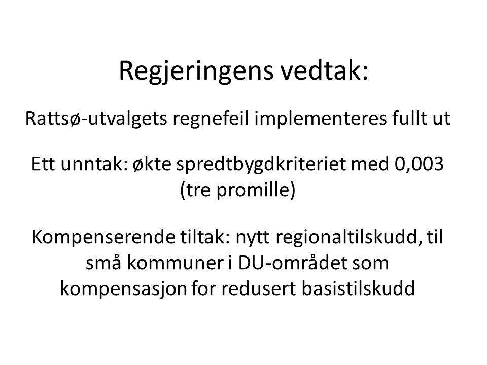 Regjeringens vedtak: Rattsø-utvalgets regnefeil implementeres fullt ut Ett unntak: økte spredtbygdkriteriet med 0,003 (tre promille) Kompenserende tiltak: nytt regionaltilskudd, til små kommuner i DU-området som kompensasjon for redusert basistilskudd