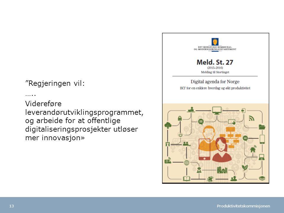 Produktivitetskommisjonen Norsk mal: To innholdsdeler - Sammenlikning Tips farger: FINs fargepalett er lagt inn i malen og vil brukes automatisk i diagrammer og grafer Regjeringen vil: …..