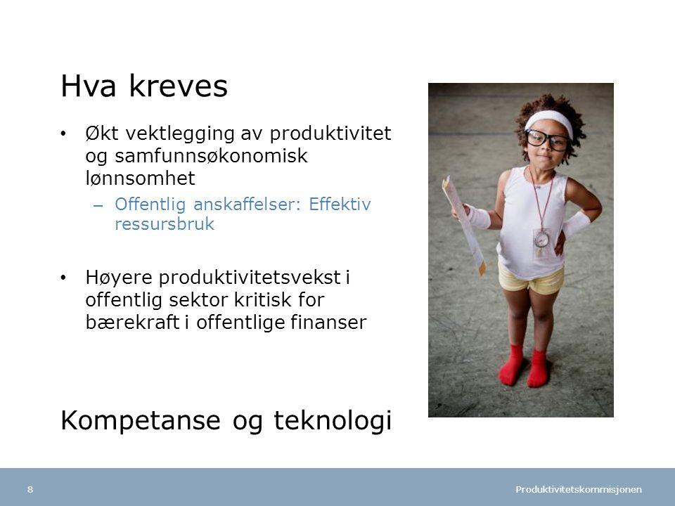 Produktivitetskommisjonen Norsk mal: To innholdsdeler - Sammenlikning Tips farger: FINs fargepalett er lagt inn i malen og vil brukes automatisk i diagrammer og grafer Hva kreves Økt vektlegging av produktivitet og samfunnsøkonomisk lønnsomhet – Offentlig anskaffelser: Effektiv ressursbruk Høyere produktivitetsvekst i offentlig sektor kritisk for bærekraft i offentlige finanser Kompetanse og teknologi 8