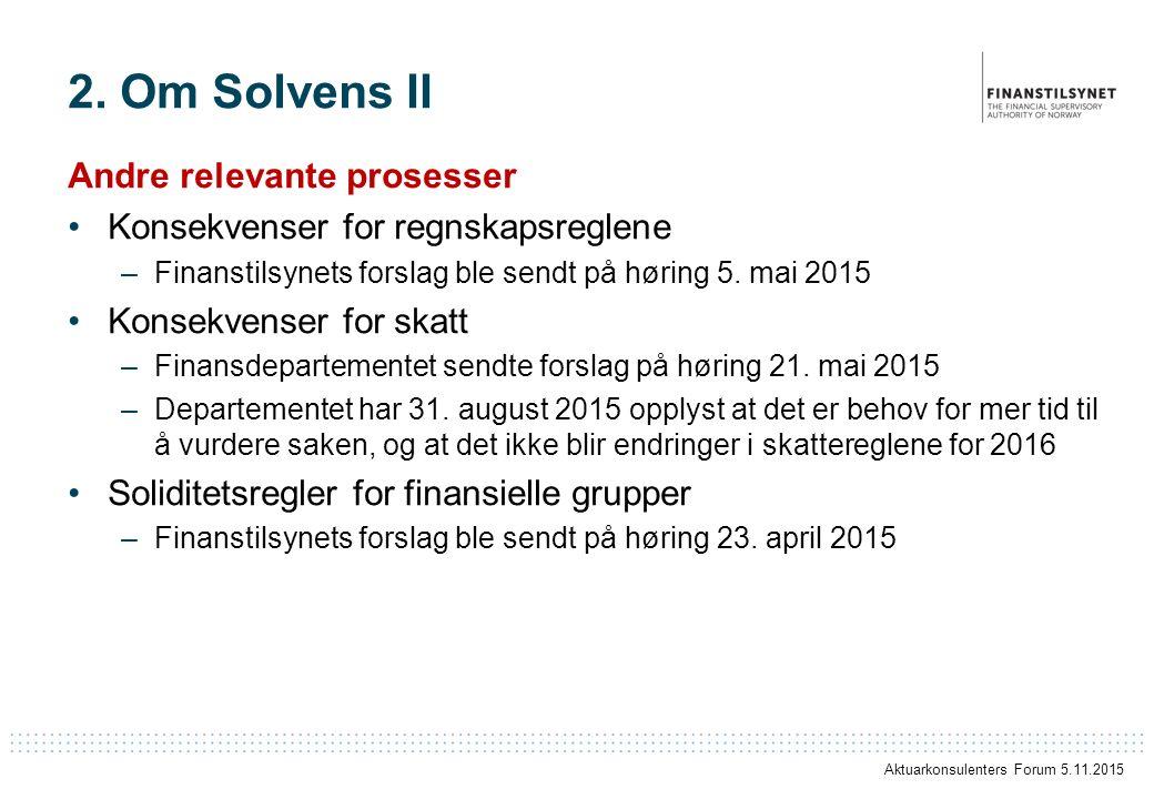 2. Om Solvens II Andre relevante prosesser Konsekvenser for regnskapsreglene –Finanstilsynets forslag ble sendt på høring 5. mai 2015 Konsekvenser for