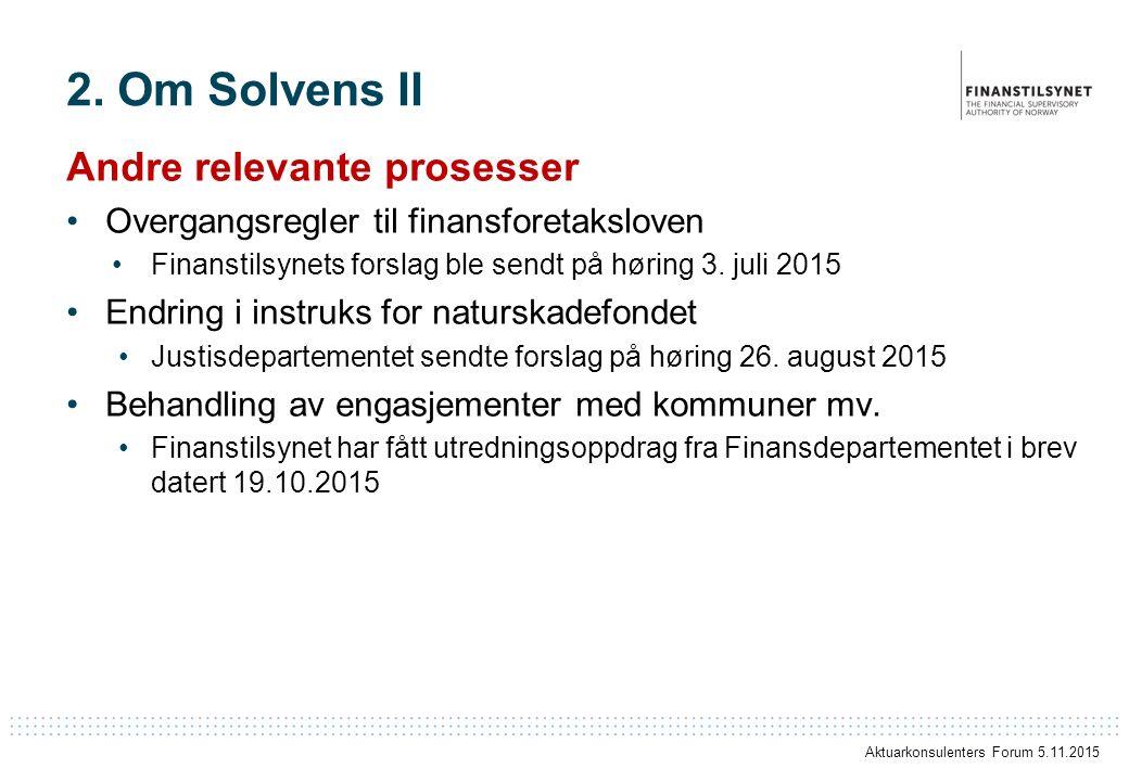 2. Om Solvens II Andre relevante prosesser Overgangsregler til finansforetaksloven Finanstilsynets forslag ble sendt på høring 3. juli 2015 Endring i