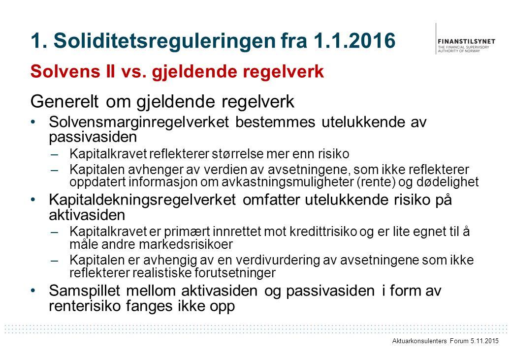 1. Soliditetsreguleringen fra 1.1.2016 Solvens II vs. gjeldende regelverk Generelt om gjeldende regelverk Solvensmarginregelverket bestemmes utelukken