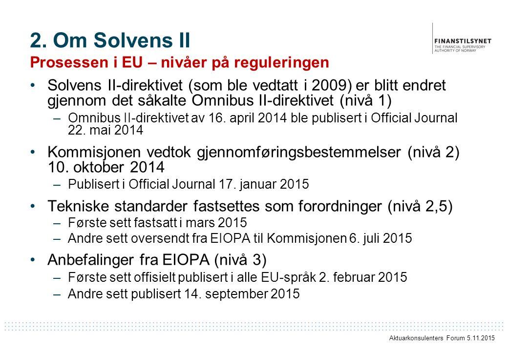 2. Om Solvens II Prosessen i EU – nivåer på reguleringen Solvens II-direktivet (som ble vedtatt i 2009) er blitt endret gjennom det såkalte Omnibus II