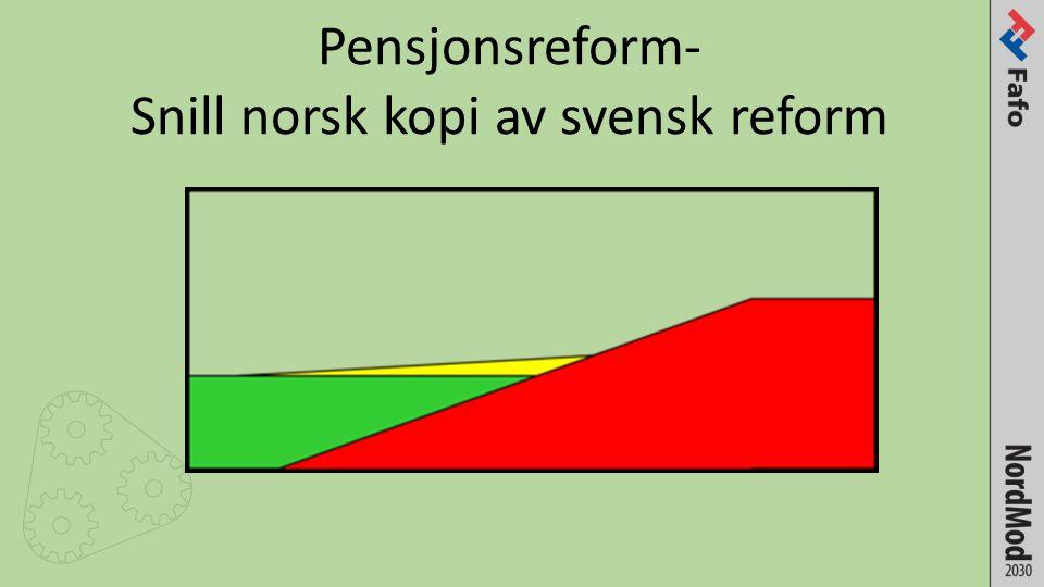 Pensjonsreform- Snill norsk kopi av svensk reform