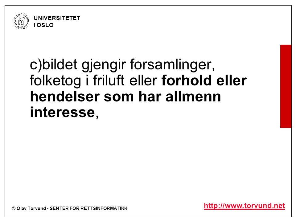 © Olav Torvund - SENTER FOR RETTSINFORMATIKK UNIVERSITETET I OSLO http://www.torvund.net c)bildet gjengir forsamlinger, folketog i friluft eller forhold eller hendelser som har allmenn interesse,