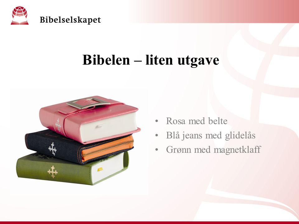 Bibelen – liten utgave Rosa med belte Blå jeans med glidelås Grønn med magnetklaff