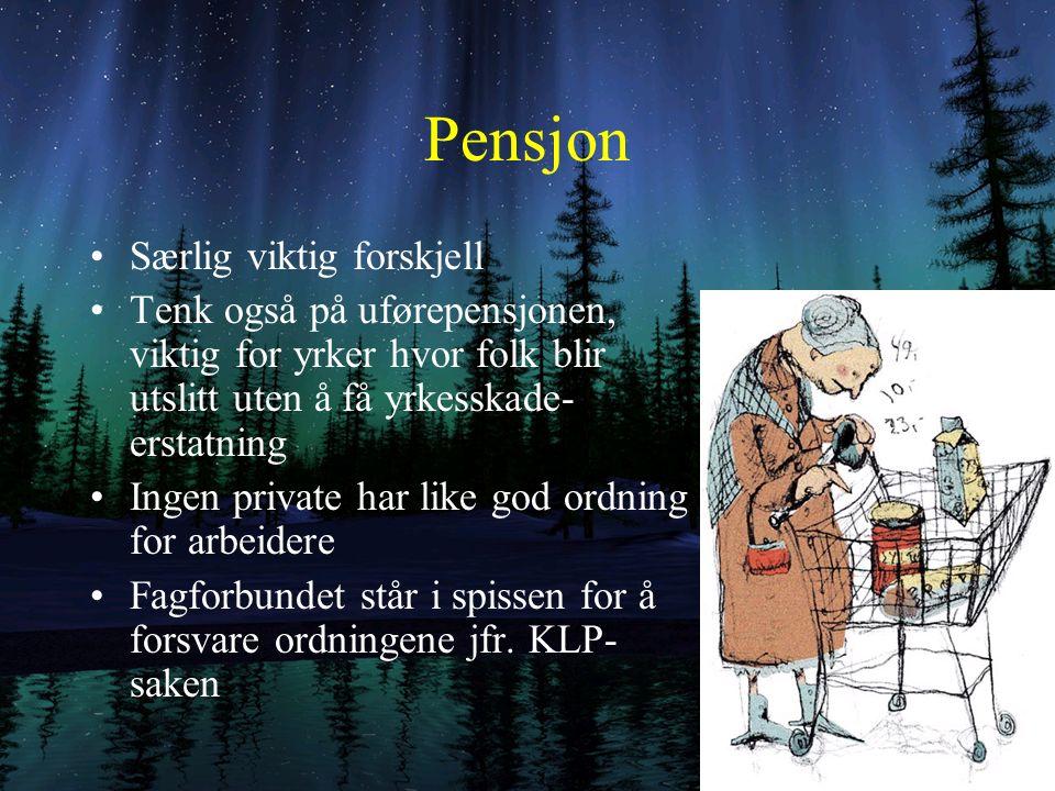 Hva inngår i prisen på arbeidskrafta Timelønn Arbeidstid Ubekvemstillegg, størrelse og tidsrom Permisjonsrettigheter Pensjon Arbeidsmiljø (tempo)