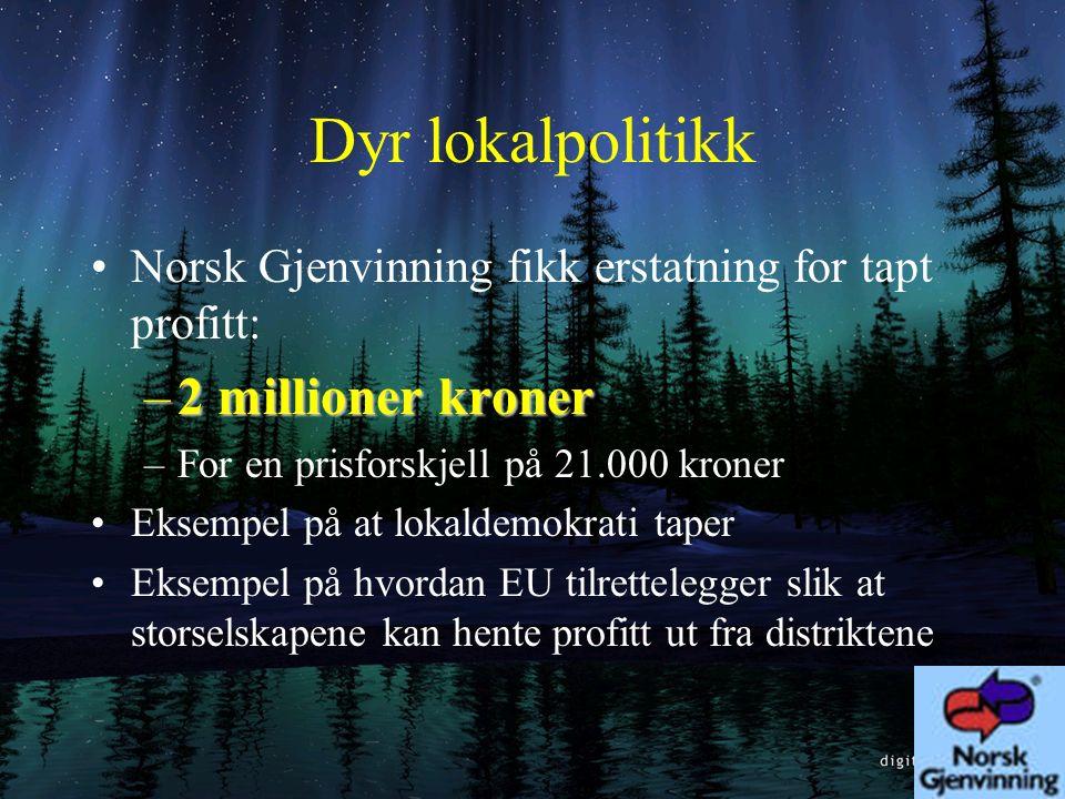 Ordføreren Aftenposten 19.6.97: –Resultatet er at kommunens knapt 16.000 innbyggere og 6.000 husholdninger vil få et dårligere renovasjonstilbud. Ikke