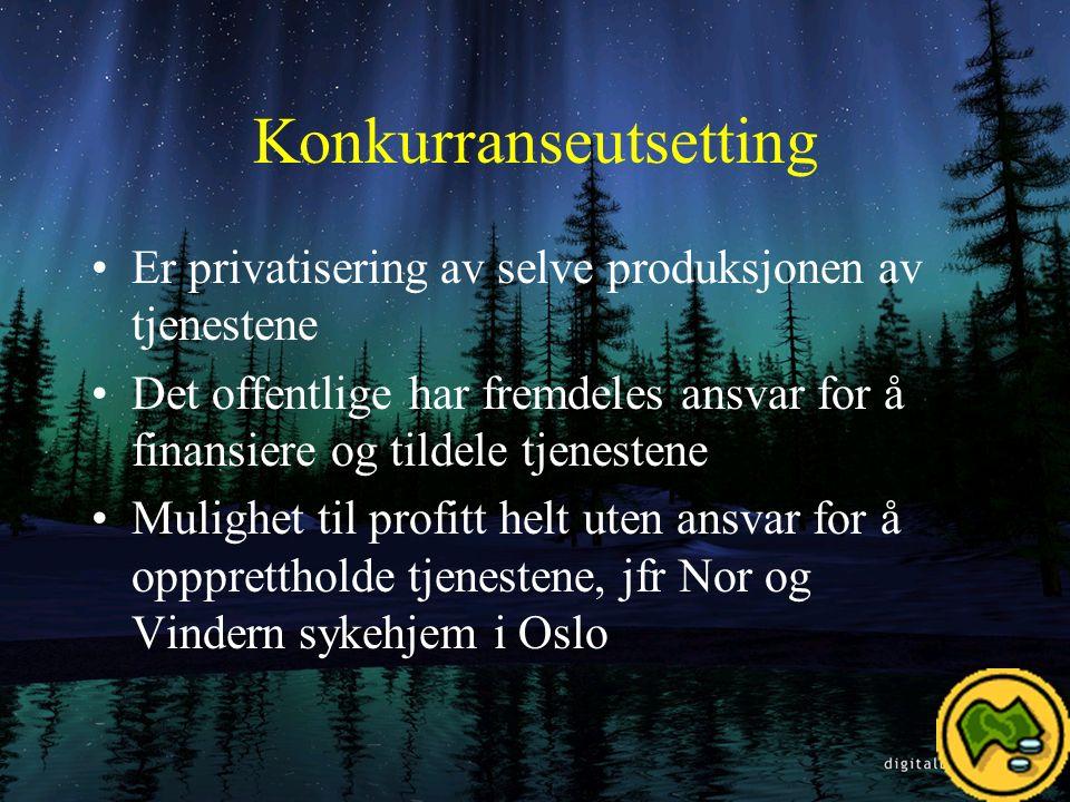 Privatisering Når private overtar tjenesteproduksjonen og samtidig ansvaret for at tjenesten tilbys, og samtidig bestemmer pris og hvem som skal tilbys tjenesten til hvilke vilkår.