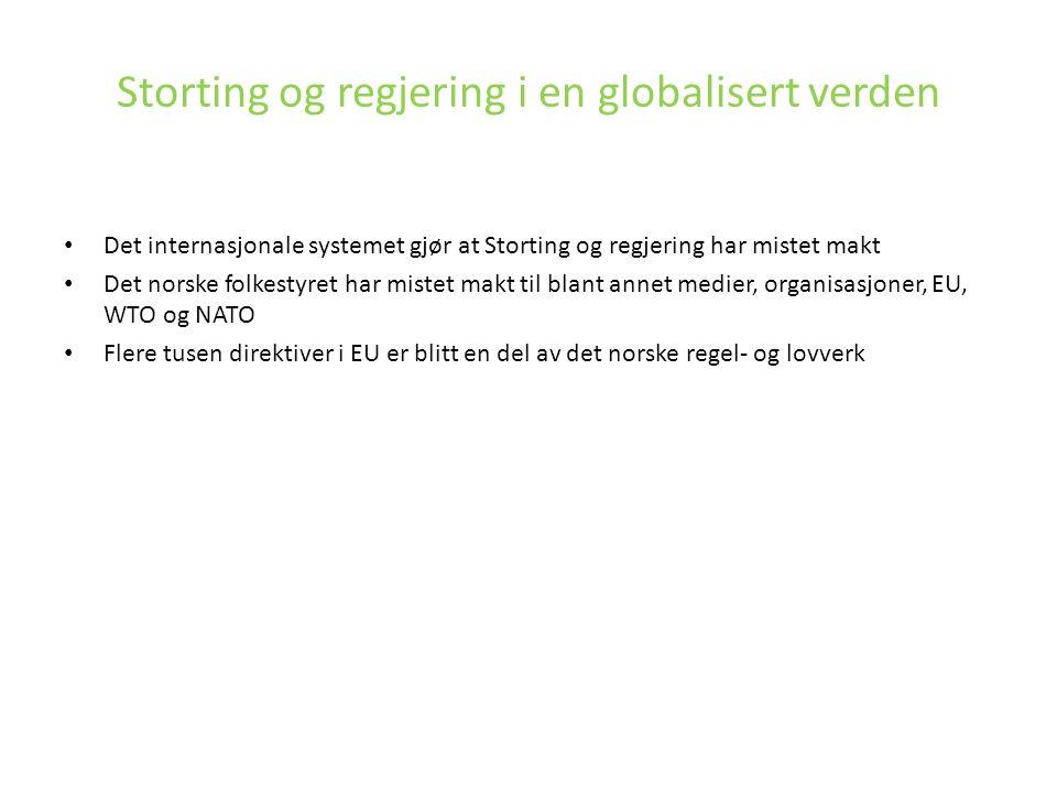Storting og regjering i en globalisert verden Det internasjonale systemet gjør at Storting og regjering har mistet makt Det norske folkestyret har mis