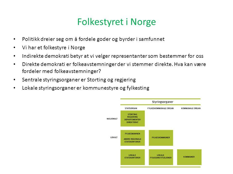 Folkestyret i Norge Politikk dreier seg om å fordele goder og byrder i samfunnet Vi har et folkestyre i Norge Indirekte demokrati betyr at vi velger r