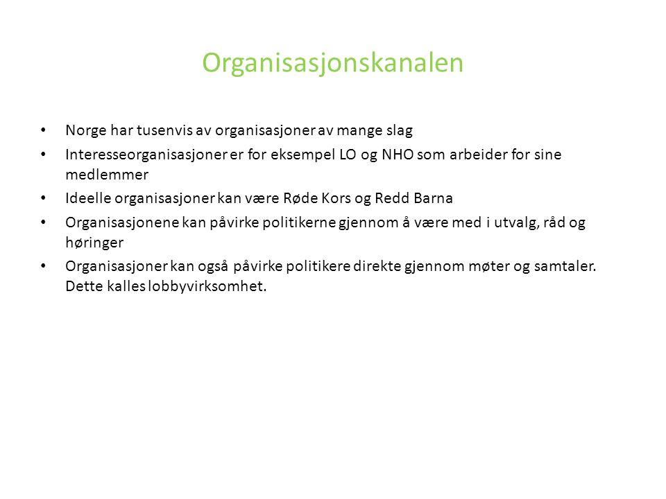 Organisasjonskanalen Norge har tusenvis av organisasjoner av mange slag Interesseorganisasjoner er for eksempel LO og NHO som arbeider for sine medlem