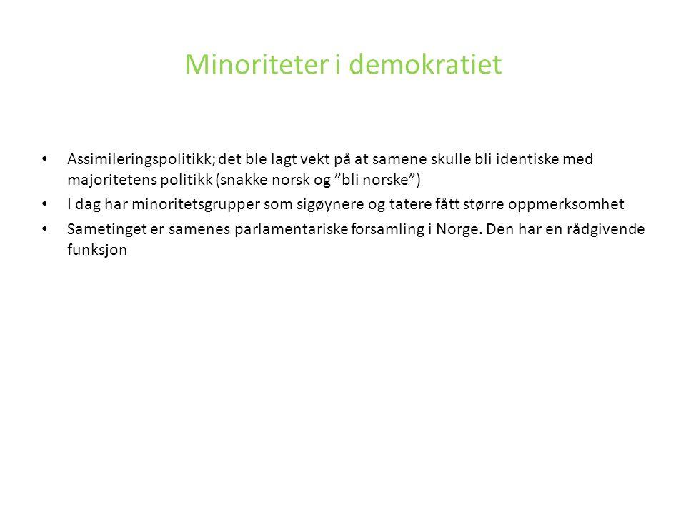 """Assimileringspolitikk; det ble lagt vekt på at samene skulle bli identiske med majoritetens politikk (snakke norsk og """"bli norske"""") I dag har minorite"""