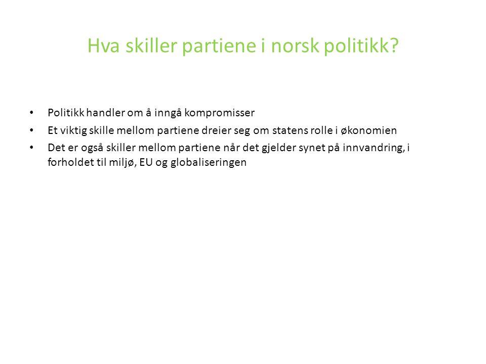 Hva skiller partiene i norsk politikk? Politikk handler om å inngå kompromisser Et viktig skille mellom partiene dreier seg om statens rolle i økonomi