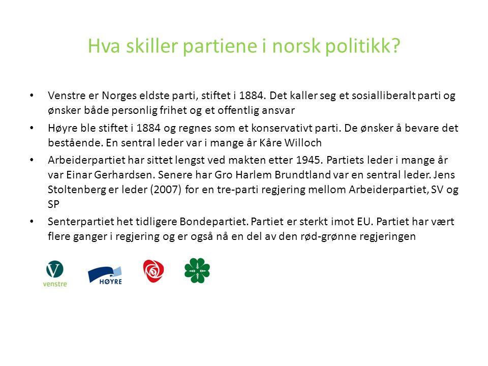 Venstre er Norges eldste parti, stiftet i 1884. Det kaller seg et sosialliberalt parti og ønsker både personlig frihet og et offentlig ansvar Høyre bl