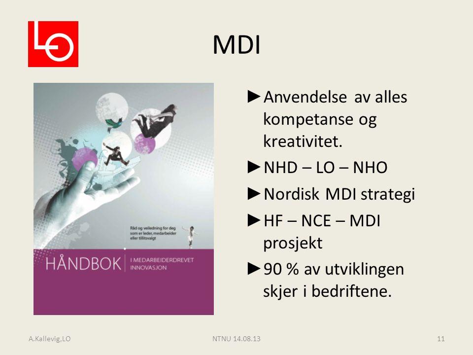 MDI ► Anvendelse av alles kompetanse og kreativitet. ► NHD – LO – NHO ► Nordisk MDI strategi ► HF – NCE – MDI prosjekt ► 90 % av utviklingen skjer i b