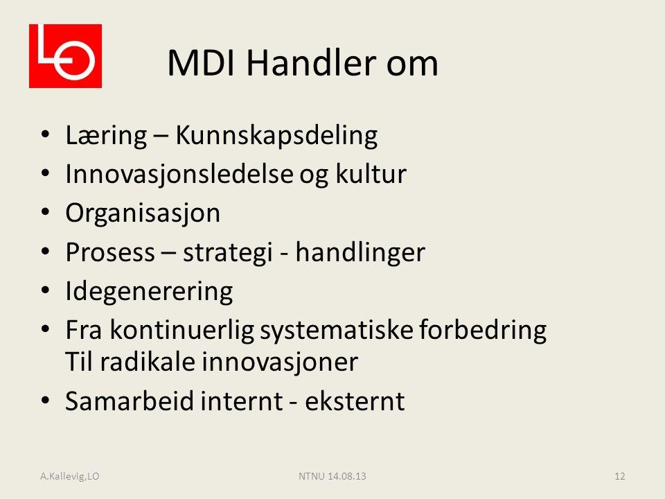 MDI Handler om Læring – Kunnskapsdeling Innovasjonsledelse og kultur Organisasjon Prosess – strategi - handlinger Idegenerering Fra kontinuerlig syste