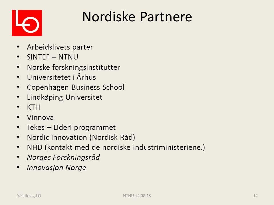 Nordiske Partnere Arbeidslivets parter SINTEF – NTNU Norske forskningsinstitutter Universitetet i Århus Copenhagen Business School Lindkøping Universi
