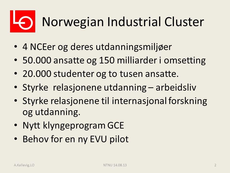 Norwegian Industrial Cluster 4 NCEer og deres utdanningsmiljøer 50.000 ansatte og 150 milliarder i omsetting 20.000 studenter og to tusen ansatte. Sty