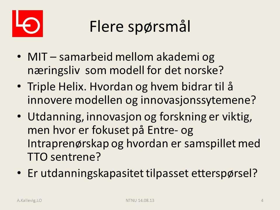 Flere spørsmål MIT – samarbeid mellom akademi og næringsliv som modell for det norske? Triple Helix. Hvordan og hvem bidrar til å innovere modellen og