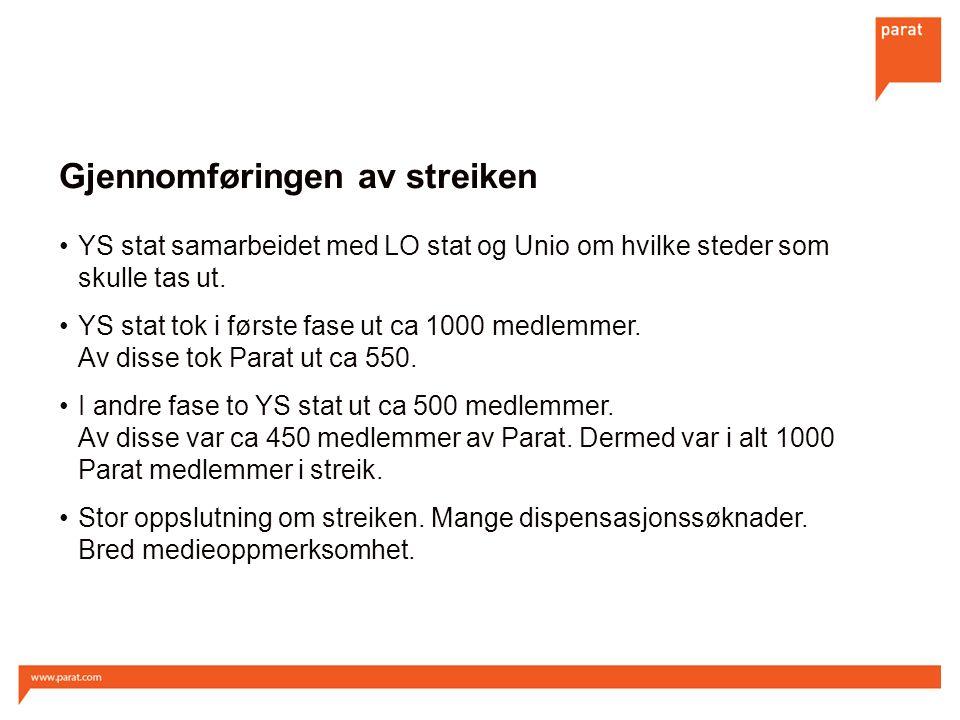 Gjennomføringen av streiken YS stat samarbeidet med LO stat og Unio om hvilke steder som skulle tas ut.