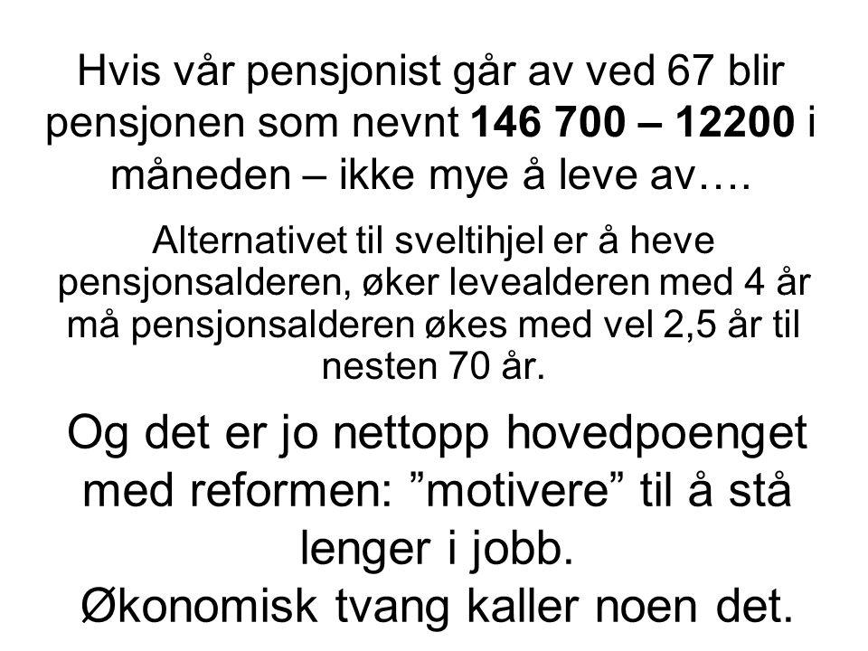 Hvis vår pensjonist går av ved 67 blir pensjonen som nevnt 146 700 – 12200 i måneden – ikke mye å leve av…. Alternativet til sveltihjel er å heve pens
