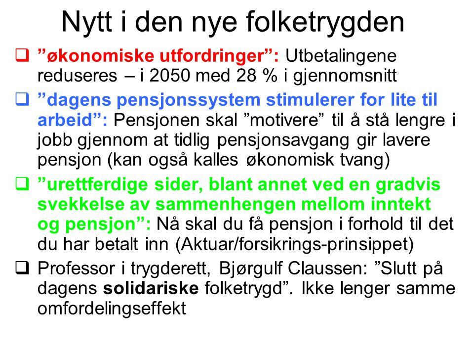 Født 1949: Tap 18000 Født 1963: Tap 38000 Født 1983: Tap 50000 Konsekvenser av levealdersjusteringa