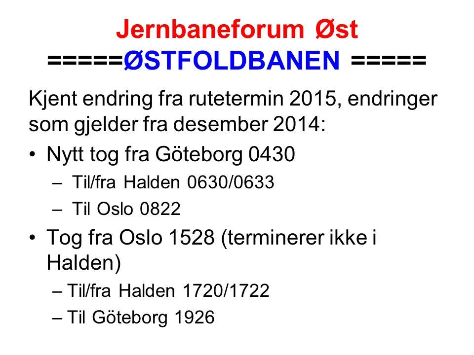 Jernbaneforum Øst =====ØSTFOLDBANEN ===== Kjent endring fra rutetermin 2015, endringer som gjelder fra desember 2014: Nytt tog fra Göteborg 0430 – Til/fra Halden 0630/0633 – Til Oslo 0822 Tog fra Oslo 1528 (terminerer ikke i Halden) –Til/fra Halden 1720/1722 –Til Göteborg 1926